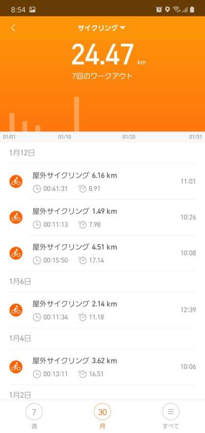 MiSmartBand4_サイクリングデータ