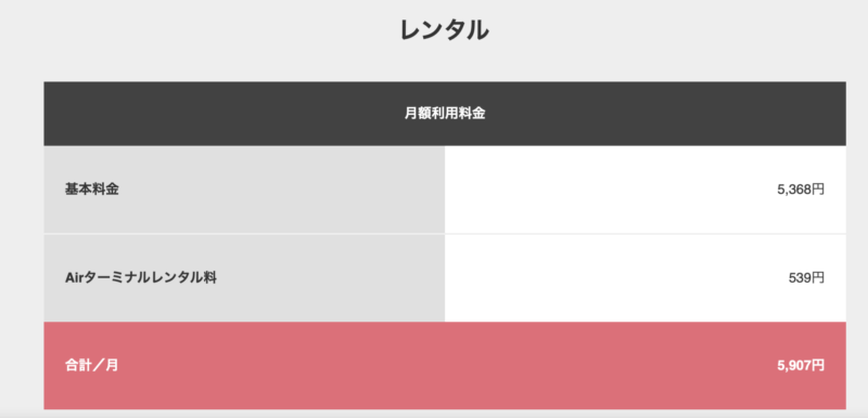 SoftBank AIr レンタル料金